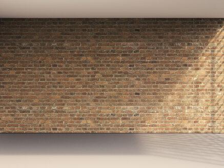 3D rendering of interior brick wall and grey floor - UWF000647