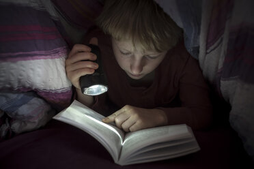 Boy with torch reading book under a blanket - SARF002304