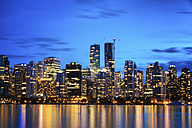 Canada, Vancouver, view to skyline at dusk seen from Stanley Park - SMAF000388