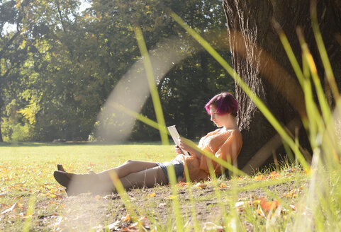 Young woman with digital tablet in Park - BFRF001643