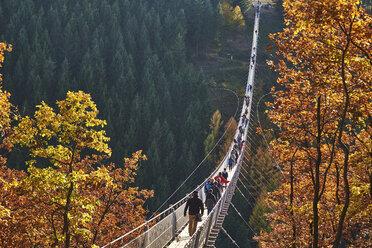 Germany, Rhineland-Palatinate, Hunsrueck, Saar-Hunsrueck-Steig, Swing Bridge Geierlay - BSC000507