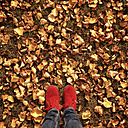 Feet in autumn leaves - LVF004151