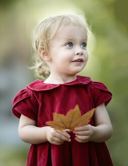 Portrait of blond little girl wearing red dress holding autumn leaf - NIF000061