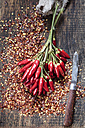 Bunch of red chili peppers, chili flakes and knife on wood - SBDF002410