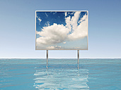 3D Rendering, Commercial sign with clouds and blue sky, water - UWF000677