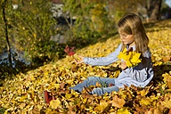 Little girl playing with autumn leaves - YFF000481