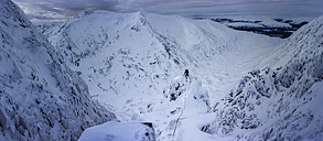 UK, Scotland, Glencoe, winter landscape at Aonach Mor with ice climber - ALRF000164