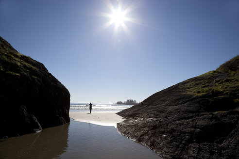Canada, Vancouver Island, Longbeach, Person taking a walk at the beach - TMF000062