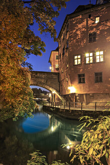 Germany, Bavaria, Bamberg, Regnitz river at night - VT000488