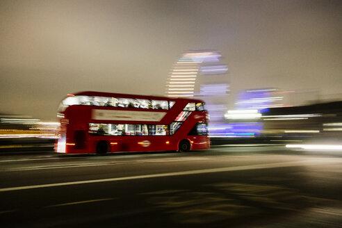 UK, London, driving double-decker bus at night - MAU000083
