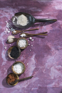 Wooden spoons with different salts on cloth - ASF005765