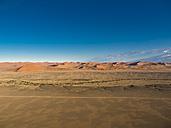 Africa, Namibia, Kulala Wilderness Reserve, Tsaris Mountains, Sossusvlei, Region Hardap, Namib desert at sunrise - AMF004475