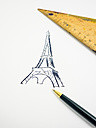 Eiffel Tower, drawn, triangle and pencil - AMF004489