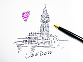Big Ben in London, symbolical picture, drawn - AMF004498
