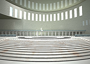 Indoor view of a hall with round steps, 3D Rendering - ALF000657