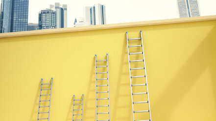 3d Rendering, Ladders leaning on yellow wall in front of skyline - UWF000694