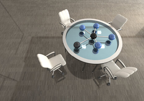 Room with network on table and swivel chairs, 3D Rendering - ALF000663