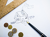 Drawing of a house with Euro coins - AMF004516