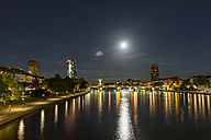 Germany, Frankfurt, River Main at night, Skyline of finanial district - MABF000349