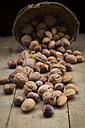 Walnuts, almonds and hazelnuts on wood - LVF004257