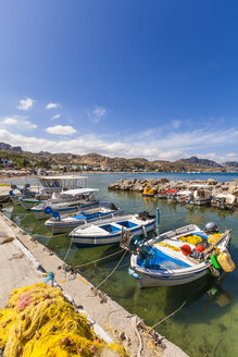 Greece, Dodecanese, Rhodes, Stegna, Fishing harbour - WDF003450