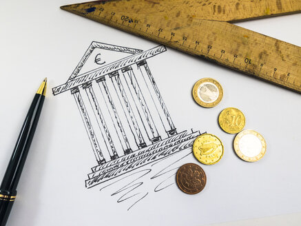 Drawing of a tax office, ballpen, ruler and coins - AMF004537