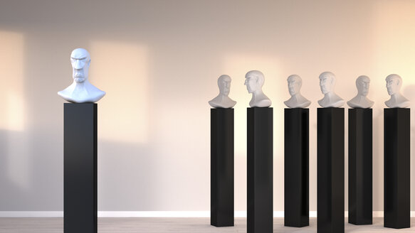 Bust standing out from the crowd, 3D Rendering - UWF000701