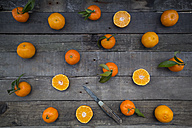 Whole and sliced tangerines and a knife on wood - LVF004306