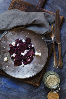 Metal plate of beetroot salad with feta and sea salt - SBDF002580
