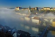 Germany, Bavaria, Burghausen in the morning fog - HAMF000116