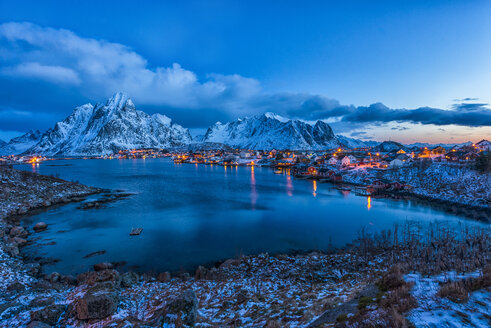 Norway, Lofoten, town of Reine at blue hour - LOMF000123