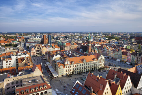 Poland, Wroclaw, Old Town Market Square, historic city centre from above, cityscape - ABOF000058