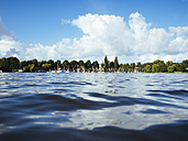 Germany, Hamburg, Aussenalster, Outer Alster Lake, harbour, sailing boats, water surface - KRPF001678