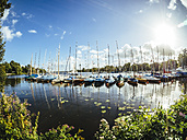 Germany, Hamburg, Aussenalster, Outer Alster Lake, harbour, sailing boats - KRPF001681