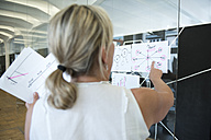 Businesswoman in office pointing at mind map - WESTF021643