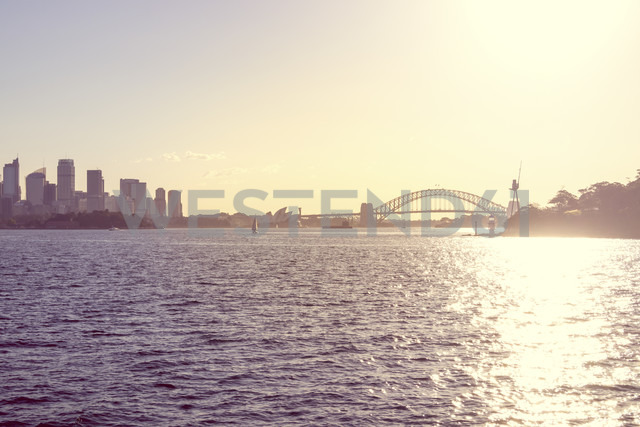 Australia, Sydney, view to Sydney Harbour Bridge at backlight - PUF000455