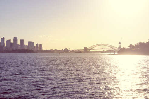 Australia, Sydney, view to Sydney Harbour Bridge at backlight - PUF000455