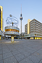 Germany, Berlin, Alexanderplatz, TV tower and Urania World Clock in the morning - RJ000555