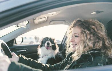 Woman driving car, dog sitting on passenger seat - OIPF000032