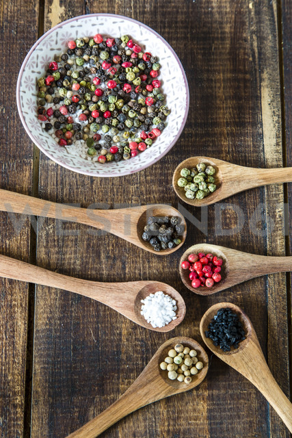 Wooden spoons of different peppercorns and Hawaiian lava salt and berg crystal salt - SARF002414