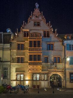 France, Alsace, Colmar, Facade of Bourse aux Vins at night - AM004595