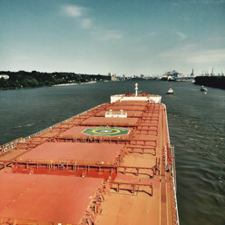 Germany, Hamburg, view from a bulk carrier on Elbe River - MS004750