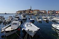Croatia, Istria, Rovinj, Moored boats at the harbour - LBF001332