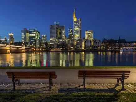Germany, Frankfurt, view to skyline from Schaumainkai at twilight - AM004616