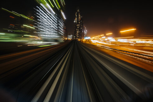 UAE, Dubai, railway at night - MAUF000212
