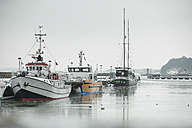Germany, Sassnitz, Fishing boats in harbour in winter - ASCF000429