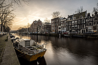 Netherlands, Holland, Amsterdam, Canal at sunset - DAWF000439