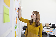 Young woman in office standing by org chart - RBF003946