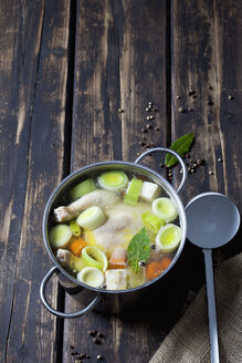 Cooking pot with raw corn-fed chicken and greens - CSF026997