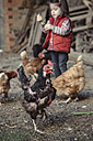 Portrait of black hen in a farm barnyard with little girl in the background - DAPF000007